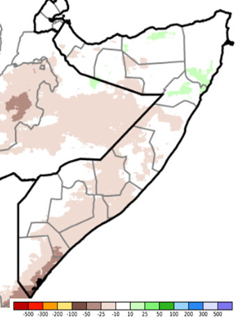 Map of Somalia depicting the rainfall anomaly in mm compared to the long-term average from June 1st to 10th.