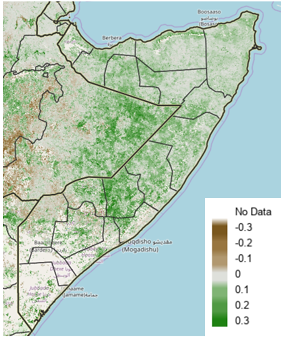 Map of Somalia depicting vegetation conditions according to satellite-derived data as an anomaly from the short-term median for the period of April 11th to 20th