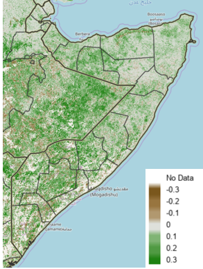 Map of Somalia showing vegetation conditions during the May 1st to 10th period