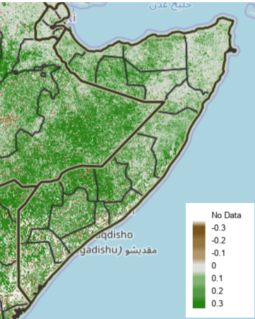 Map of Somalia showing vegetation anomalies from May 11 to 20, 2020