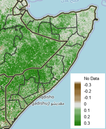 Map of Somalia depicting vegetation conditions according to remote sensing data as an anomaly from the short-term median.