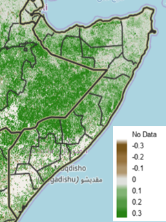 Map of Somalia depicting vegetation anomalies compared to the short-term median during the June 1-10 period