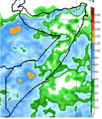 Map of Somalia depicting the rainfall forecast in terms of cumulative rainfall in millimeters from April 24th to 30th