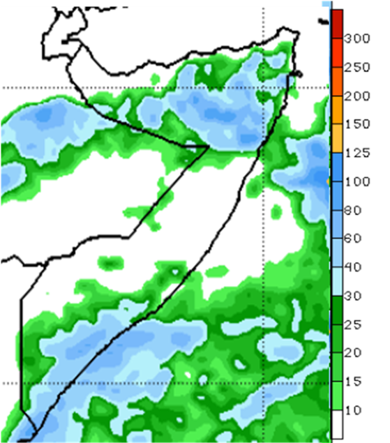Map of Somalia showing the rainfall forecast in millimeters from May 24 to 30, 2020