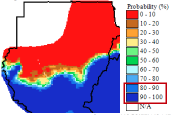 Likely sufficiency of rainfall totals for sorghum based on May ICPAC regional Climate Outlook Forum June-August rainfall forecast.