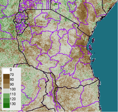 Normalized Difference Vegetation Index (NDVI) anomaly (difference from 2001-2010 mean), November 1-10, 2012