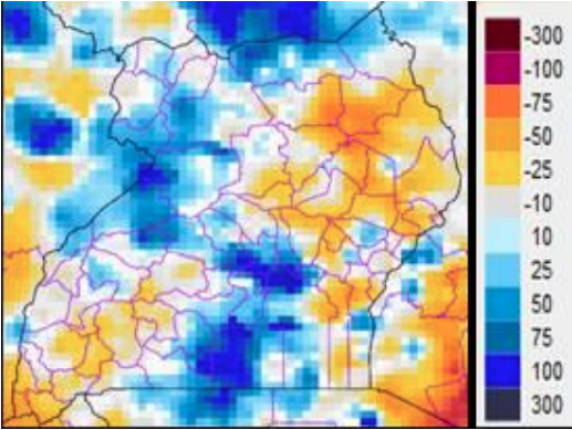 Karamoja rainfall anomalies, % of normal May 2013