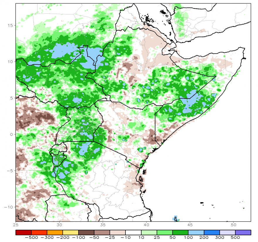 Figure 1.  Arc2 satellite-estimated rainfall anomaly (mm), October 1-29