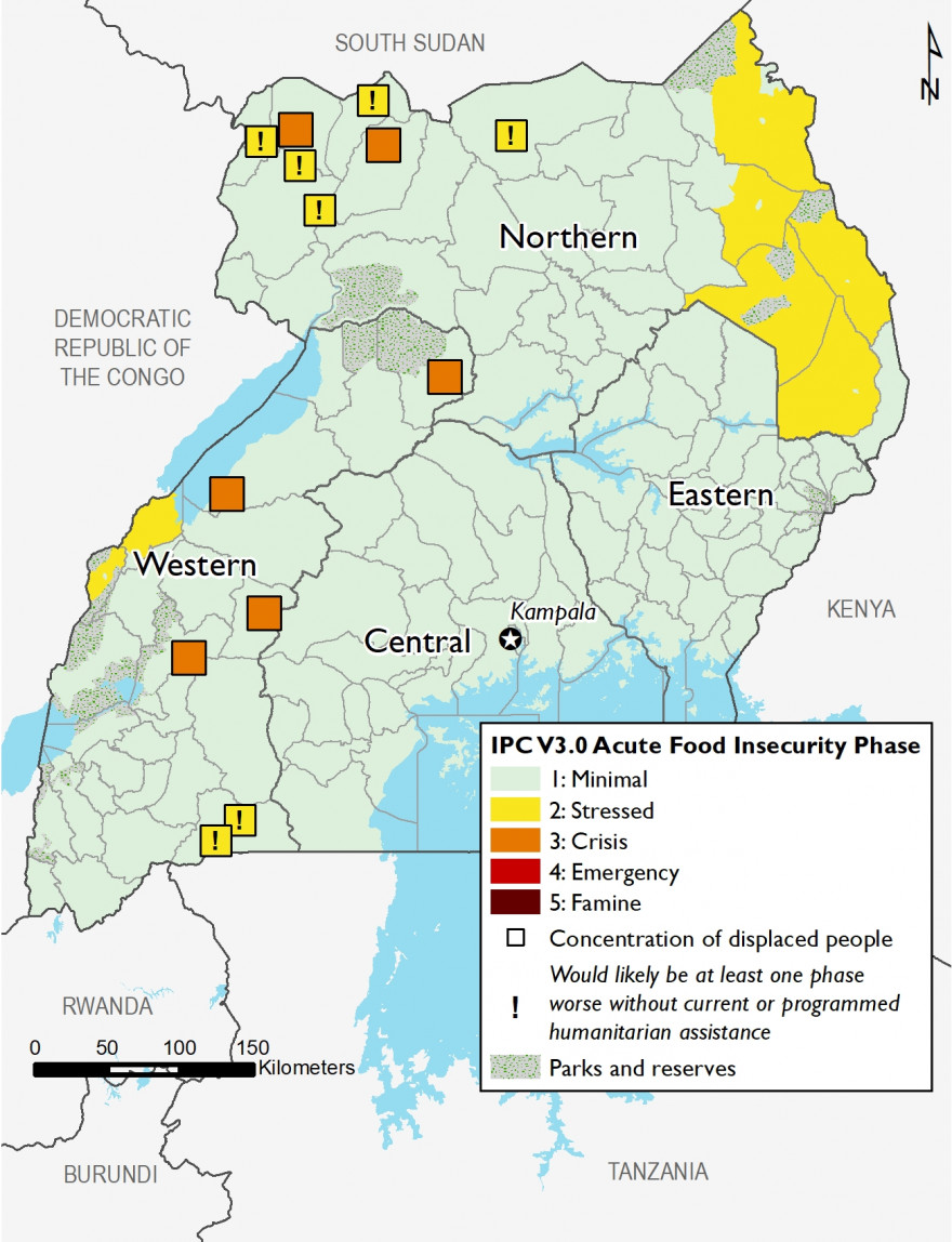 Map of Uganda showing current food security outcomes in October 2020