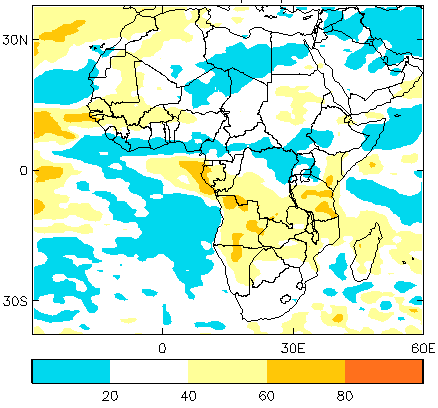 Figure 2. Probability of below-average rainfall, July through September 2015