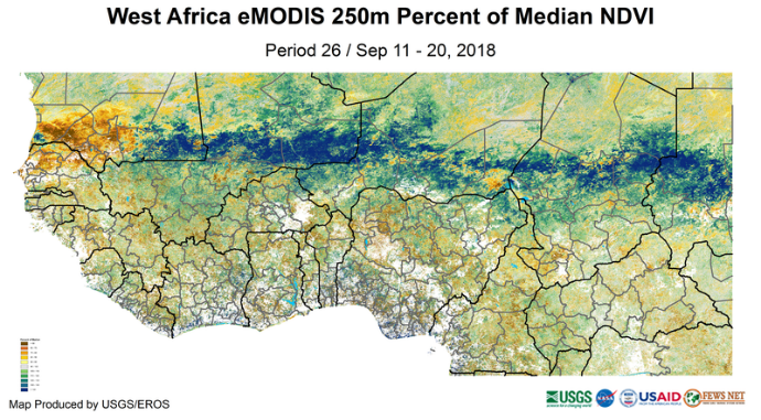 Map showing West Africa eMODIS 250m Percent of Median NDVI: average to above average across most of the region except in southwestern Mauritania and northern Senegal where conditions are below average