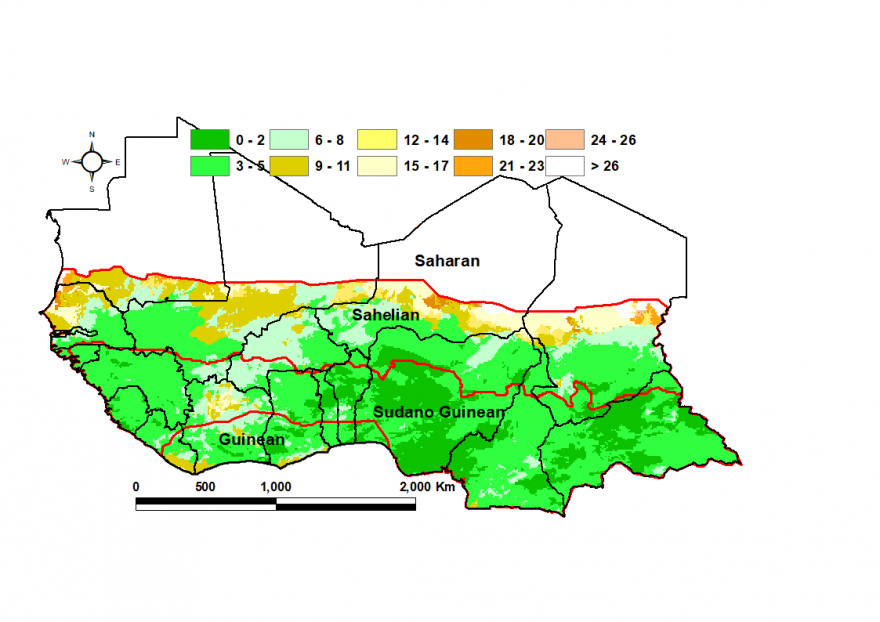 June dry spells (days): Northern edge of the ITF in the Sahel experienced dry spells of 9-11 days. The rest of the region only 0-4