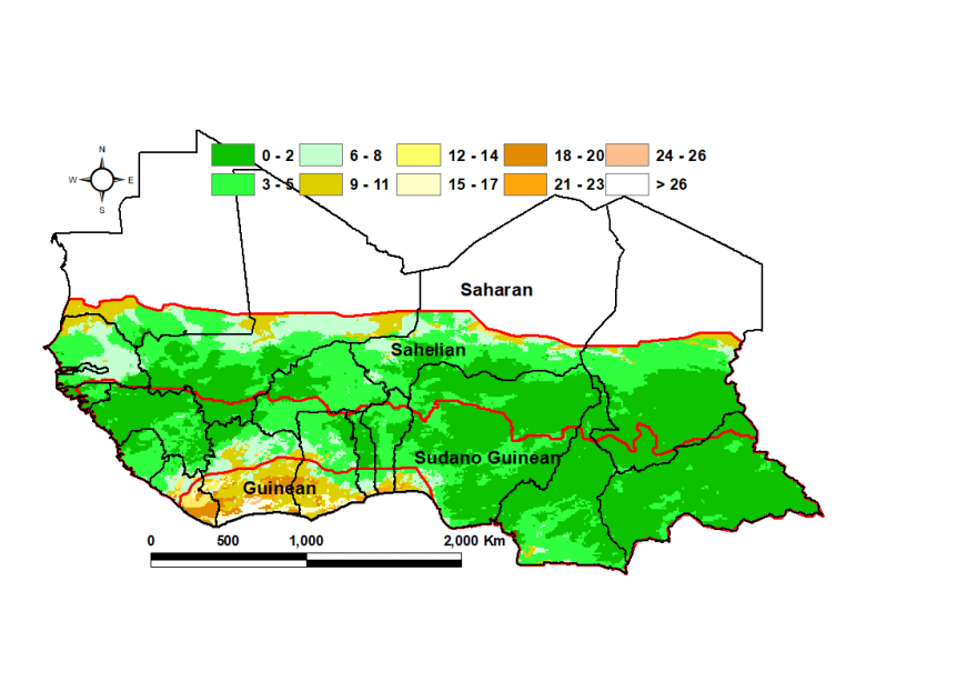 July longest dry spell (days): Mostly 0-2 days except along the Gulf of Guinea and parts of the northern Sahel