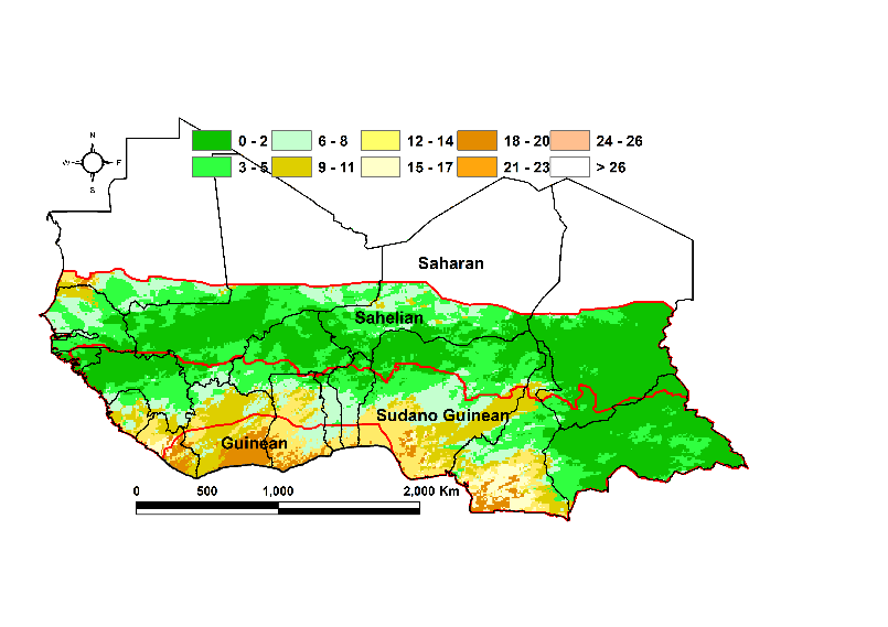 Map of The first two dekads of August longest dry spell (days): In the Guinean and Sudano Guinean zones areas of 12-20 days of dry spells. 0-4 days in the Sahelian zone