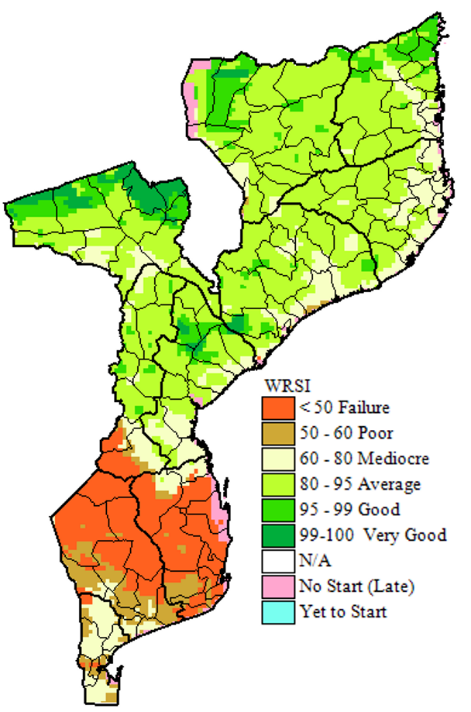 Water Requirements Satisfaction Index, as of May 10, 2020 (WRSI). Shows failure  <50 % WRSI in southern Mozambique