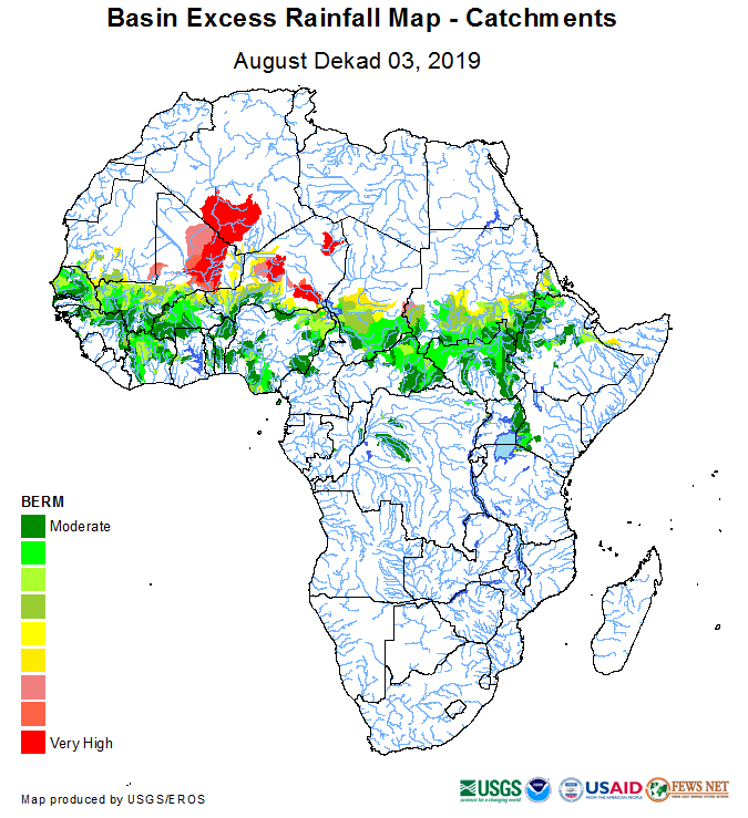 Map of Basin Excess Rainfall Map – August Dekad 3, 2019: Noted throughout the Sahel, with very high figures in northern Mali, Libya, and parts of Chad