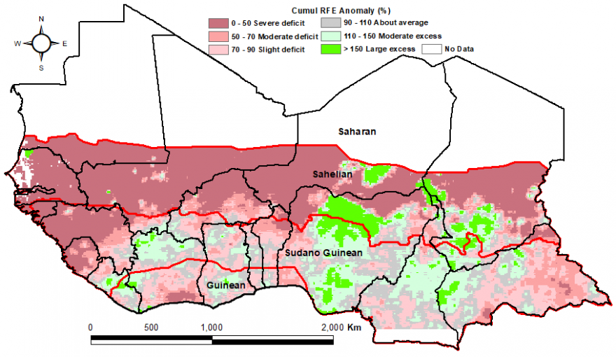Much of West Africa was in rainfall deficit compared to the 2007-2016 mean, between the first dekad of April and the first dekad of May, except for parts of Niger and Nigeria and other localized areas that were above average.