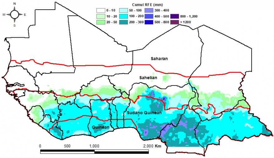 Rainfall reaching through the Guinean and Sudano Guinean zones just to the edge of the Sahelian region.