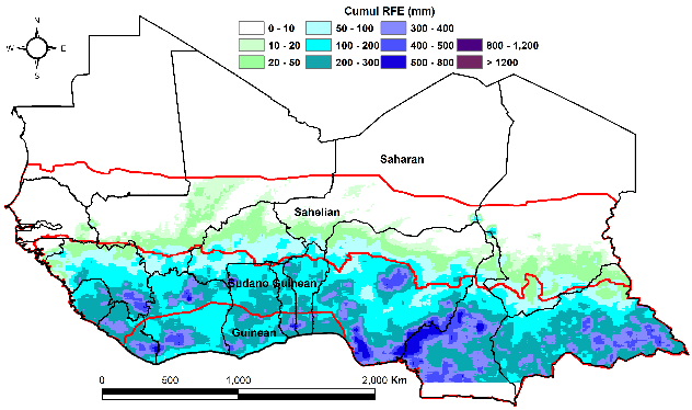 April total rainfall estimate (RFE) in mm: normal rainfall across the bi-modal zone