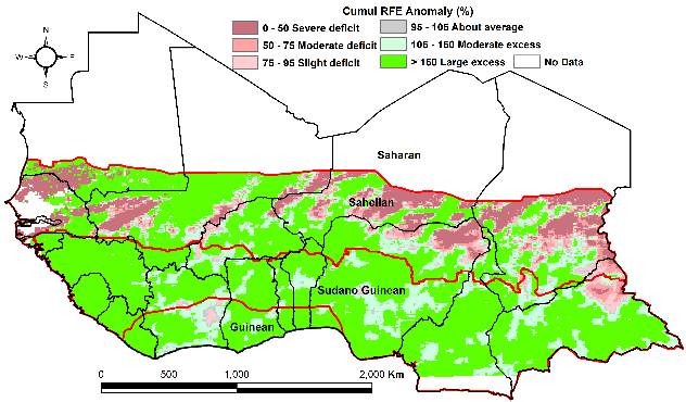 Rainfall estimate (RFE) anomaly compared to the 2009-2018 mean: Mostly above average throughout the region