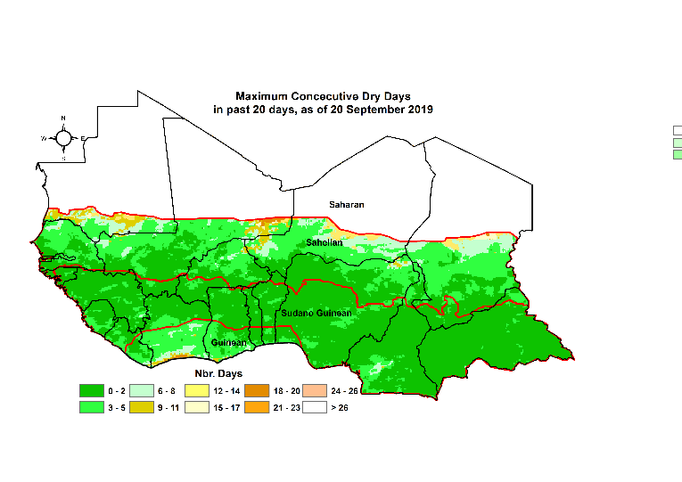 Map indicating areas with :  Longest dry spell during the first 20 days of September : Most of the region has had little to no dry spells except the edge of the ITF, currently in southern Mauritania, parts of eastern Mali, and central Niger