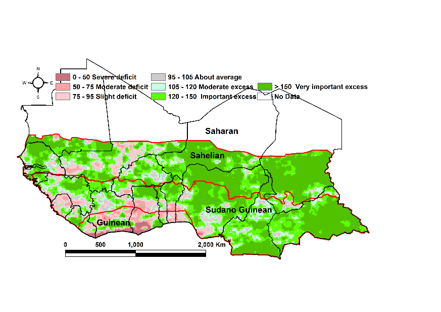 Map of 3rd dekad of August – 2nd dekad of September total rainfall estimate (RFE) anomaly compared to the 2009-2018 mean : Mostly important to very important excess across the region with some areas of slight deficit in southern Mali and the Gulf of Guinea countries