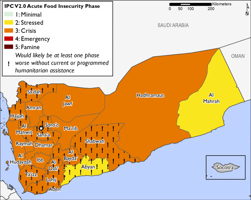 This is a map of current food security outcomes in Yemen, for June 2018. Large areas of the country are facing Crisis (IPC Phase 3) outcomes, and acute food insecurity would be at least one IPC Phase worse in many areas in the absence of planned, funded,