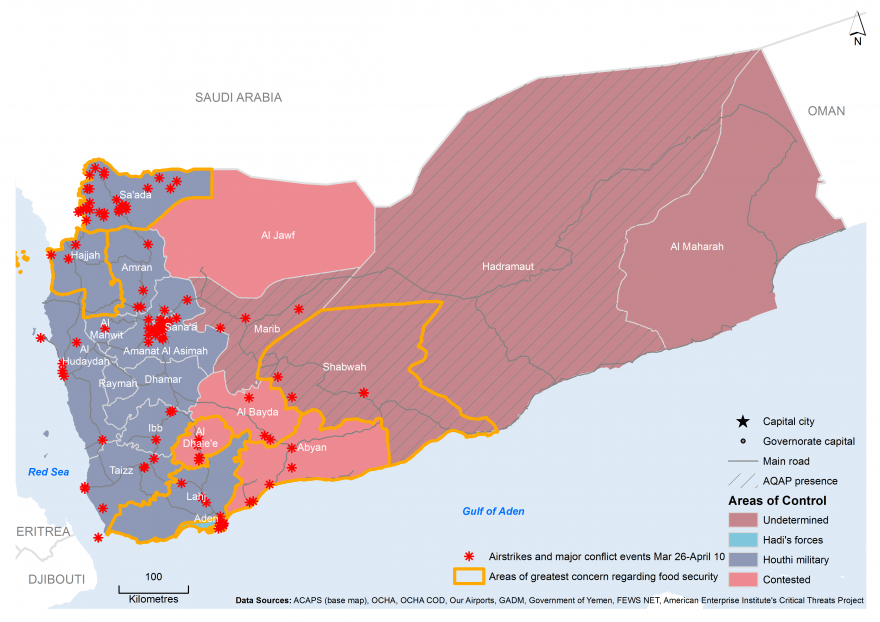 Yemen Conflict Map – March 26 – April 10 2015