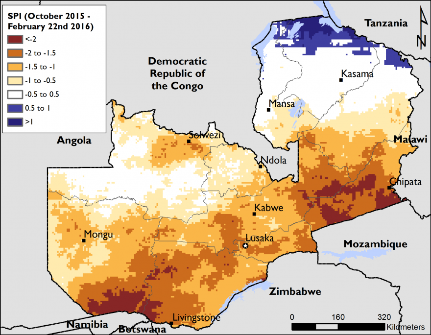 Figure 2. The Standardized Precipitation Index (SPI) for Zambia between October 2015 and February 22, 2016.