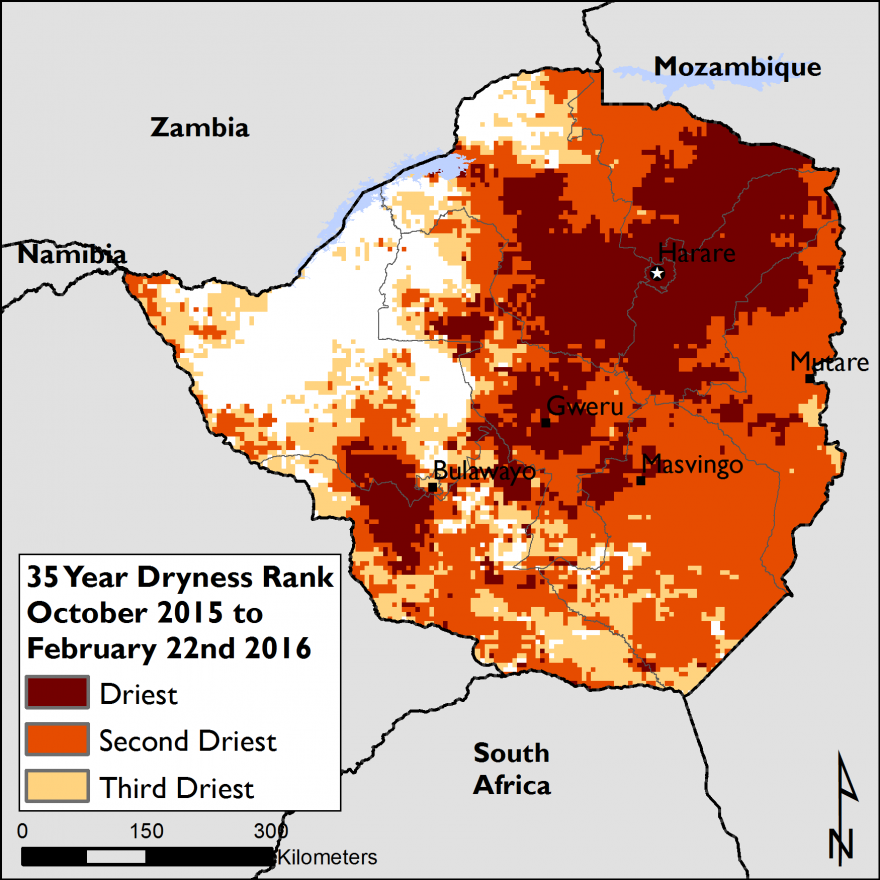 Figure 2. The Standardized Precipitation Index (SPI) dry rank for Zimbabwe between October 2015 and February 22, 2016.