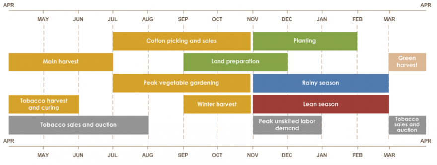 Zimbabwe seasonal calendar  Land preparation is from September to December. Planting is from November to February. Cotton picking and sales is from July toto November. Main harvest is from April to July. Green harvest is from March to April.