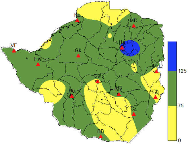 Percentage of Normal Rainfall as at 15 February  2012
