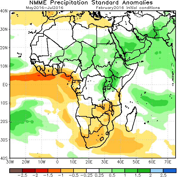 Figure 2. NMME forecast of normalized seasonal precipitation anomalies for May through July 2016