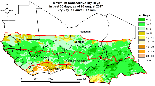 Figure 3: Consecutive dry days during the last 30 days as of August 20th