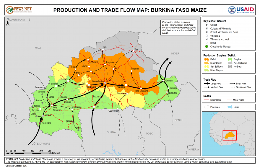 Maize Production and Trad Flow Map Burkina Faso