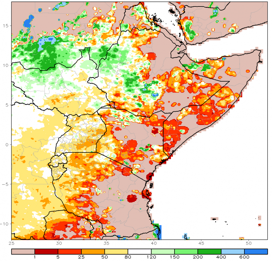 Figure 1. ARC2 30-day rainfall estimate anomaly, percent of normal (1983-2009), Oct. 6-Nov 4, 2016