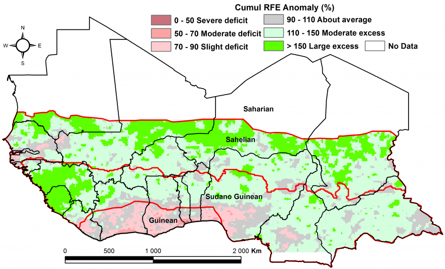 Figure 2: Rainfall estimate (RFE) anomaly compared to the 2006-2015 mean, 1st dekad of April - 3rd dekad of July
