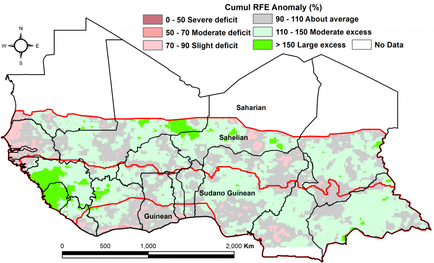 Figure 2: Rainfall estimate (RFE) anomaly compared to the 2006-2015 mean, 1st dekad of April-2nd dekad of October