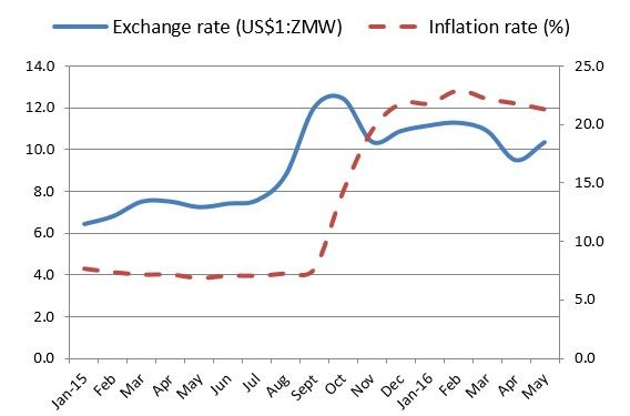 Figure 4. Currency exchange rate and inflation trends