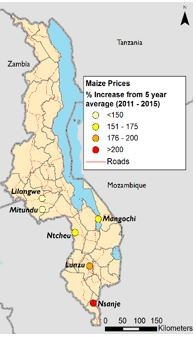 Figure 2. May 2016 maize prices in comparison to five-year average (2011-2015).