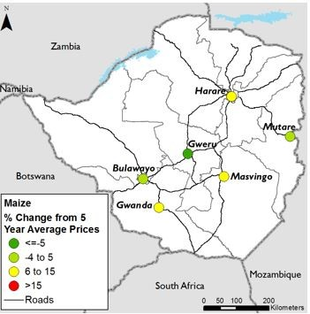 Figure 2. January maize prices, percent change from five-year average.