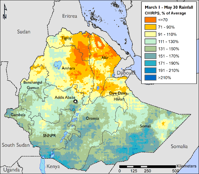Key takeaways include above-average rainfall in southeastern pastoral areas, above-average rainfall in southern Belg-producing areas, and below average rainfall northern Belg-producing and pastoral areas.