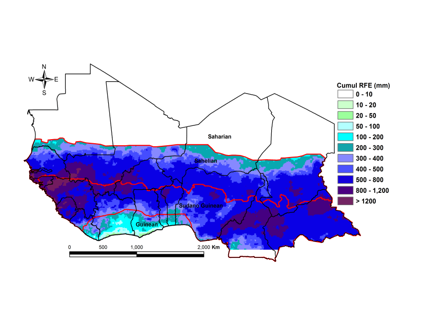Figure 1. Total rainfall estimate (RFE) in mm, 1st dekad of July - 1st dekad of October