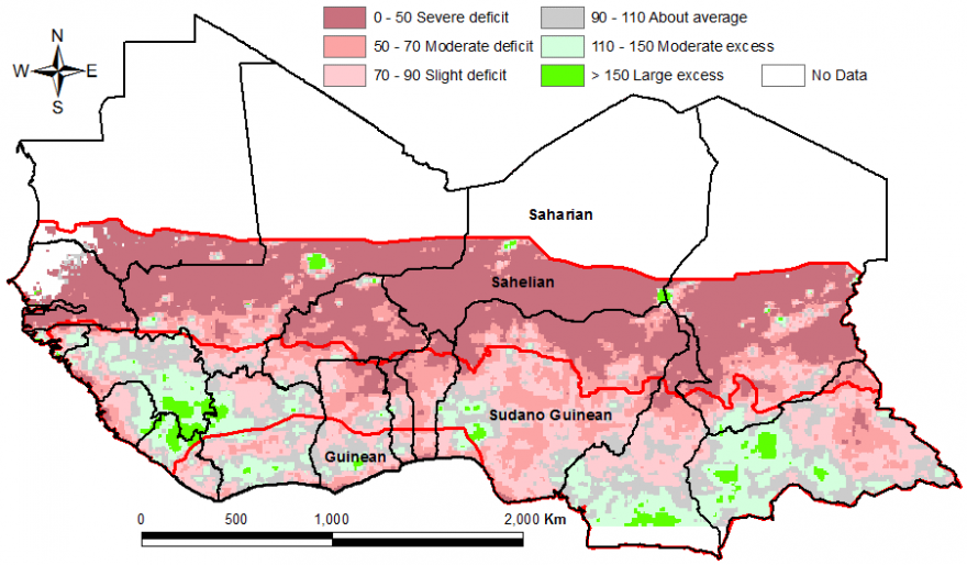 Figure 2. Rainfall estimate (RFE) anomaly compared to the 2010-2014 mean, 1st dekad of April to 3rd dekad of May