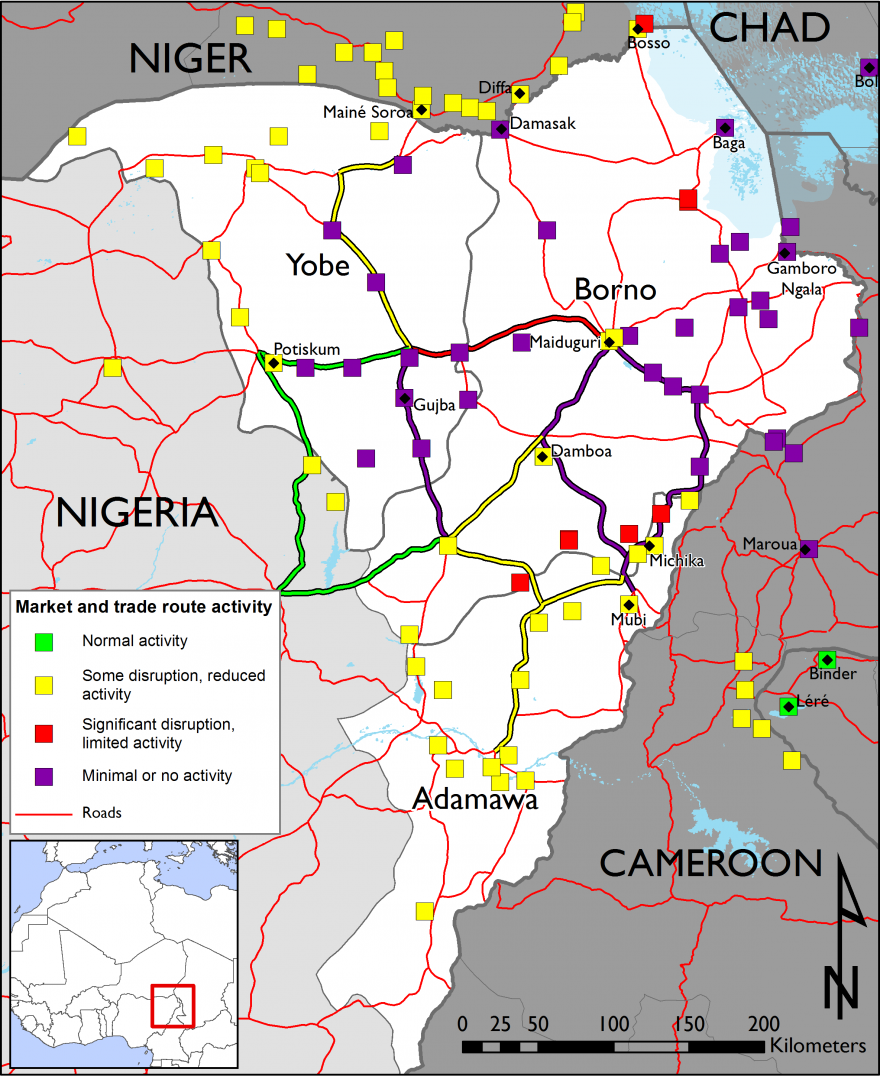 Figure 2. Northeast Nigeria market and trade route activity – week of October 12, 2015