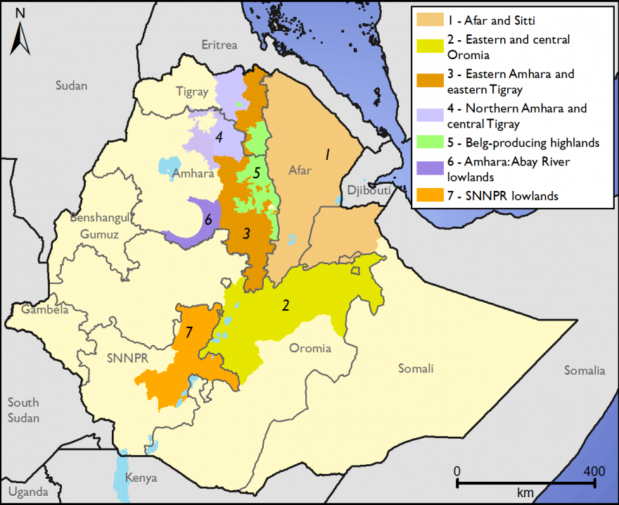 Figure 4. Drought-affected areas of Ethiopia