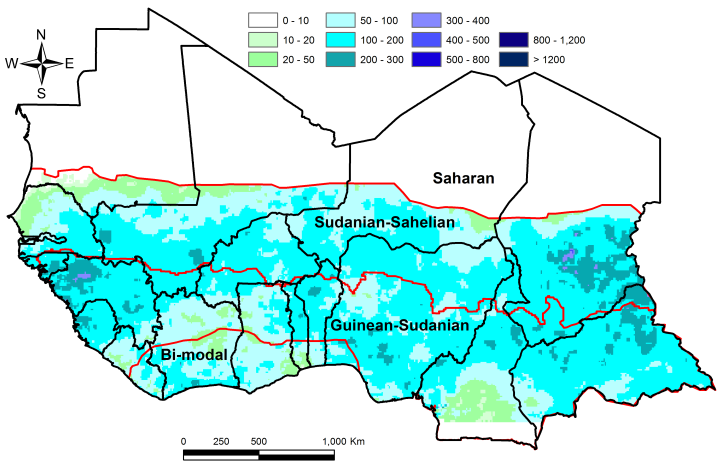 Figure 1. Total rainfall estimate (RFE) in mm, month of July