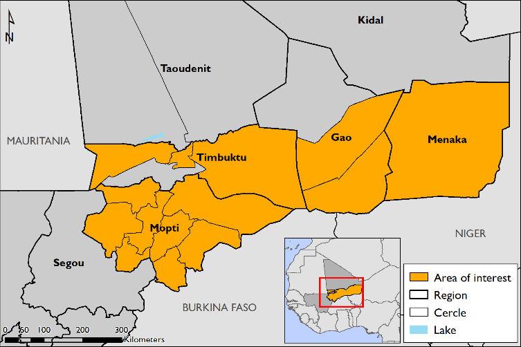Map of Mali areas of concern