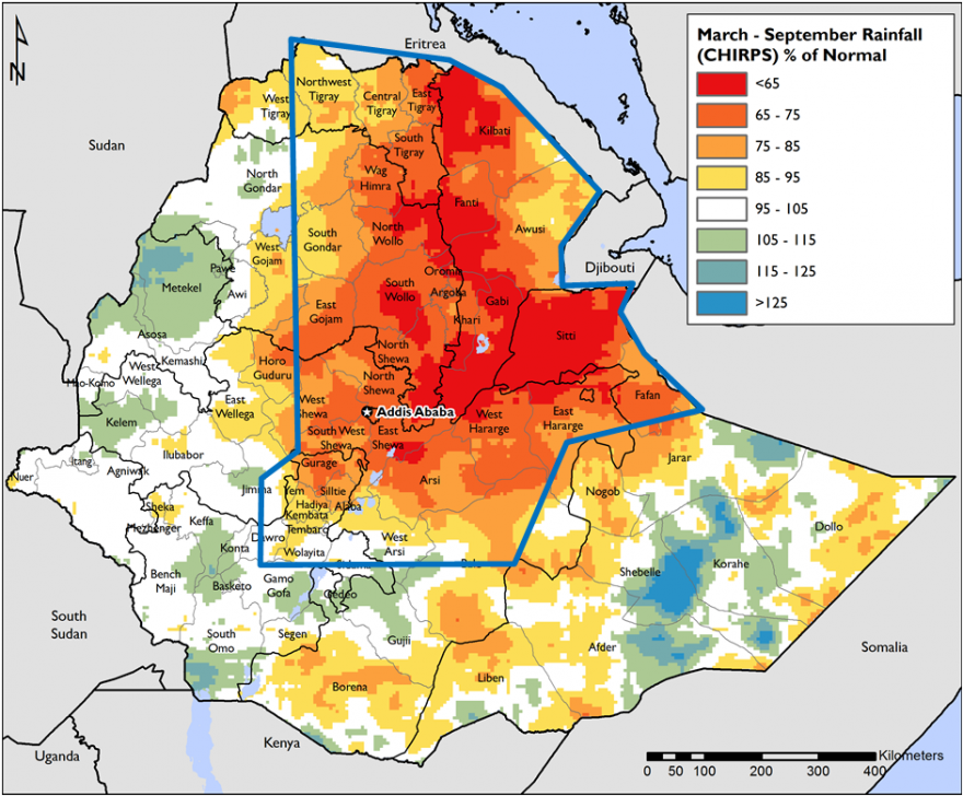 Map 2. March – September 2015 rainfall anomaly (% of the 1981-2014 average) for Ethiopia
