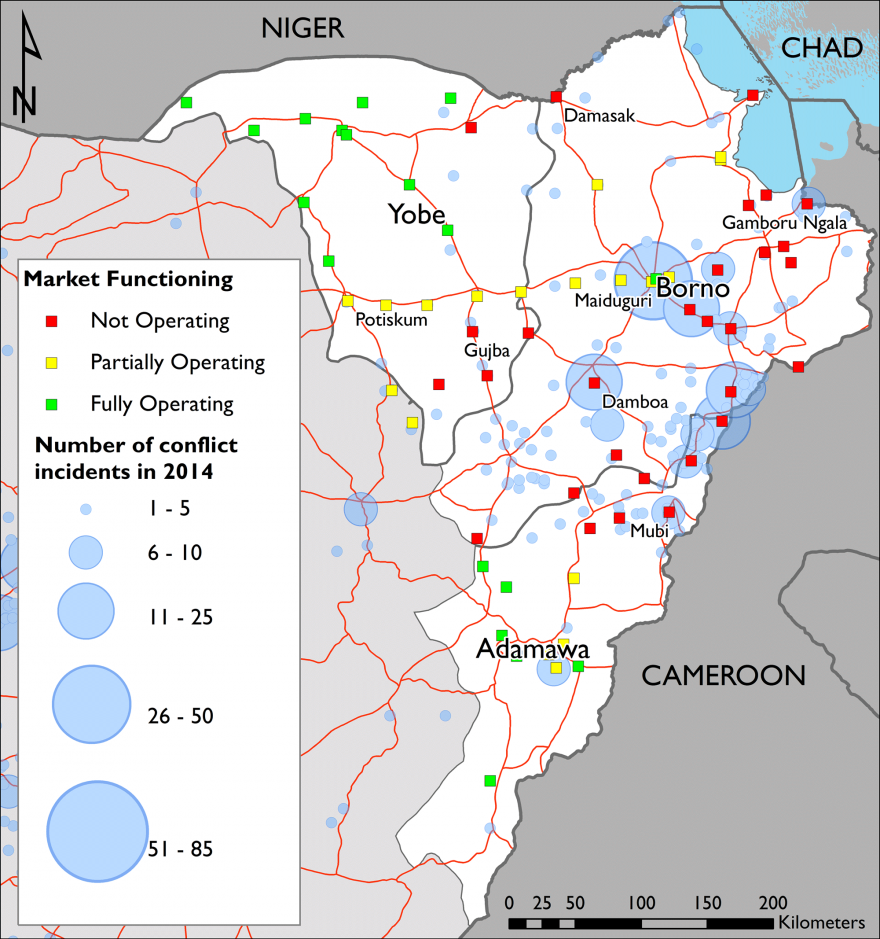 Figure 1. December 2014 market activity and 2014 conflict levels in northeast Nigeria
